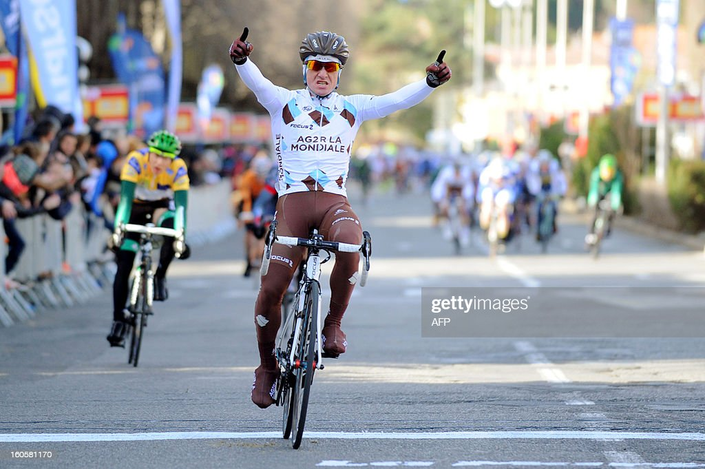 Samuel Dumoulin of France celebrates as he crosses the finish line at the end of the fifth stage of the 43rd edition of the Etoile de Besseges cycling race on February 3, 2013 in Ales, southern France.