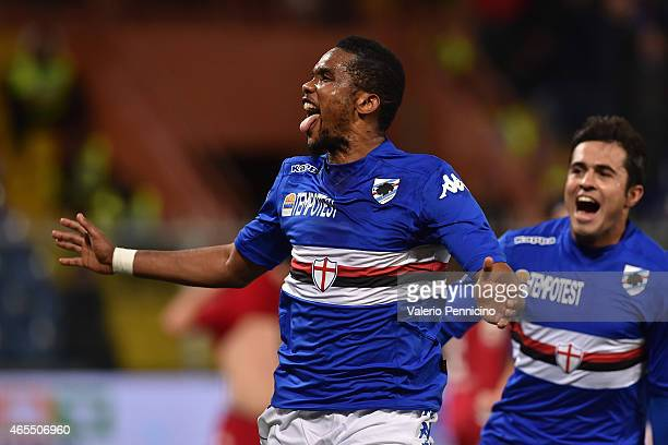 Samuel Eto o of UC Sampdoria celebrates a goal during the Serie A match between UC Sampdoria and Cagliari Calcio at Stadio Luigi Ferraris on March 7...