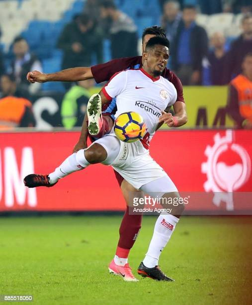 Samuel Eto of Antalyaspor in action during a Turkish Super Lig match between Trabzonspor and Antalyaspor at Medical Park Stadium in Trabzon Turkey on...