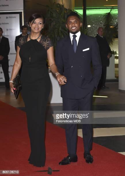 Samuel Eto'o and Georgette Eto'o attend Lionel Messi and Antonela Rocccuzzo's wedding at the City Center Rosario Hotel Casino on June 30 2017 in...