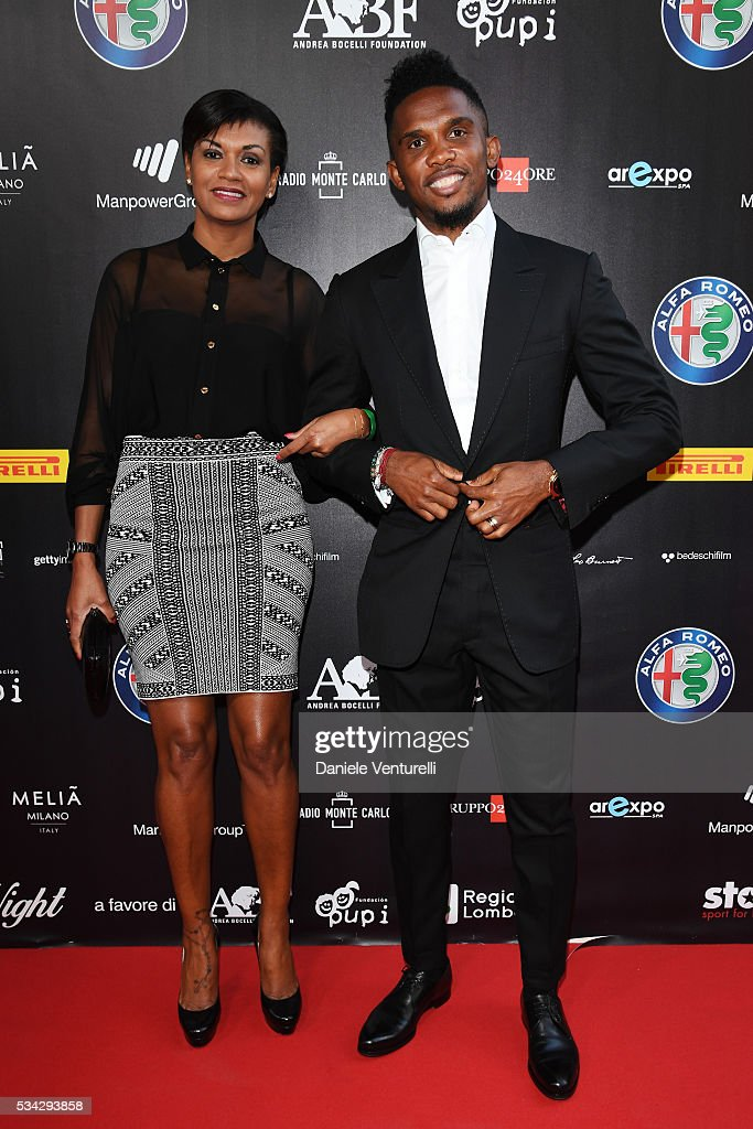 <a gi-track='captionPersonalityLinkClicked' href=/galleries/search?phrase=Samuel+Eto%27o&family=editorial&specificpeople=210530 ng-click='$event.stopPropagation()'>Samuel Eto'o</a> and Georgette Eto'o walk the red carpet of Bocelli and Zanetti Night on May 25, 2016 in Rho, Italy.