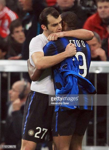 Samuel Eto'o and Goran Pandev of Inter Milan celebrate Pandev's goal during the UEFA Champions League round of 16 second leg match between FC Bayern...