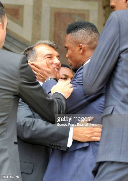 Samuel Etoo and Joan Laporta attend the wedding of the goalkeeper Victor Valdes and Yolanda Cardona on June 9 2017 in Barcelona Spain
