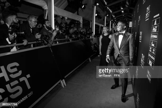 Samuel Eto'o arrives on the green carpet for The Best FIFA Football Awards at The London Palladium on October 23 2017 in London England