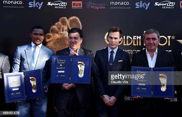 Samuel Eto'o Daniel Passarella Louis Ducruet and Gheorghe Hagi attend the Golden Foot award ceremony at Fairmont Hotel on September 21 2015 in Monaco...