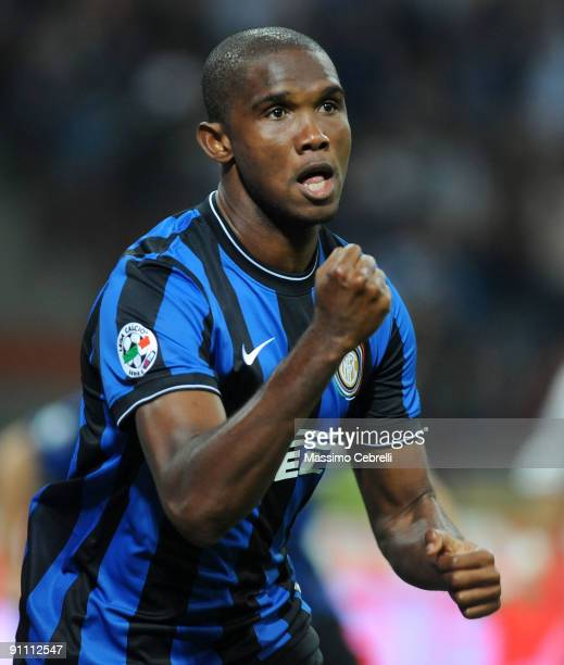 Samuel Eto'o Fils of FC Inter Milan celebrates scoring his team's first goal during the Serie A match between FC Inter Milan and SSC Napoli at Stadio...