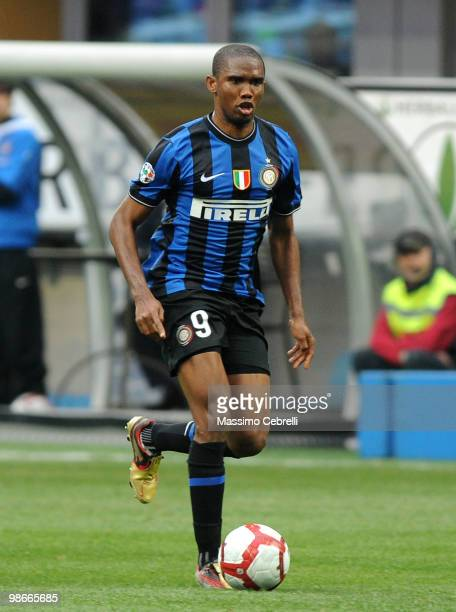 Samuel Eto'o Fils of FC Internazionale Milano in action during the Serie A match between FC Internazionale Milano and Atalanta BC at Stadio Giuseppe...