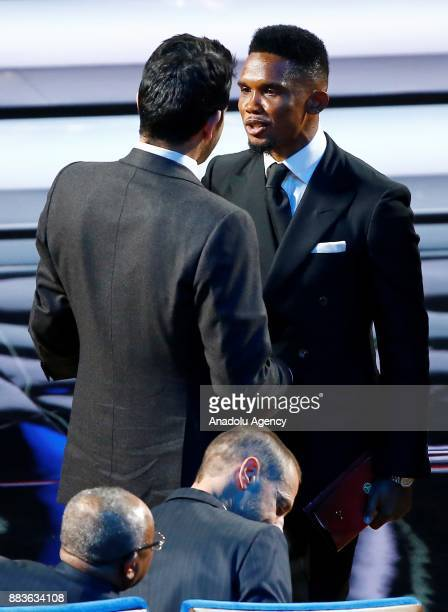 Samuel Eto'o of Antalyaspor attends the Final Draw of the FIFA World Cup 2018 at the State Kremlin Palace in Moscow Russia 01 December 2017