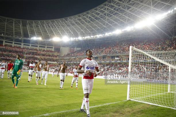 Samuel Etoo of Antalyaspor greets fans at the end of the 4th week of the Turkish Super Lig match between Antalyaspor and Galatasaray at the Antalya...