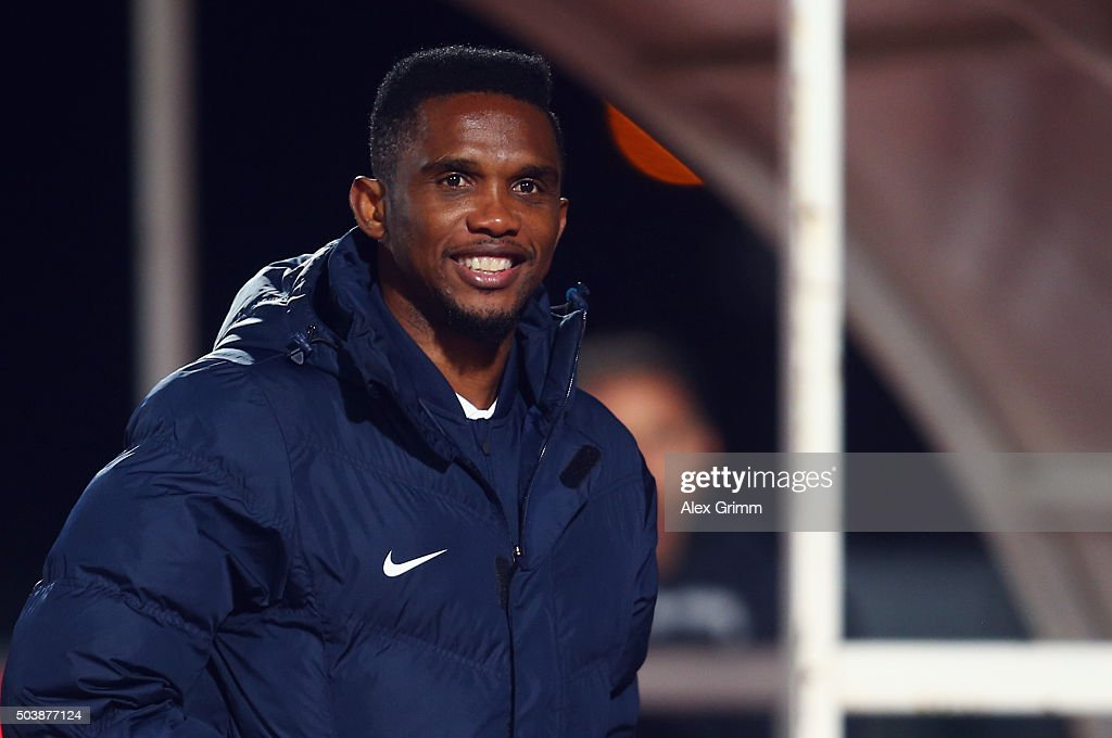 Samuel Eto'o of Antalyaspor looks on after a friendly match between VfB Stuttgart and Antalyaspor at Akdeniz Universitesi on January 7, 2016 in Antalya, Turkey.