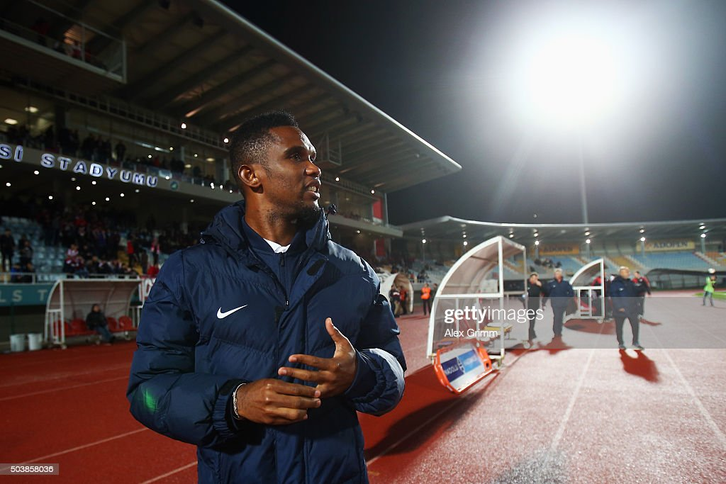 <a gi-track='captionPersonalityLinkClicked' href=/galleries/search?phrase=Samuel+Eto%27o&family=editorial&specificpeople=210530 ng-click='$event.stopPropagation()'>Samuel Eto'o</a> of Antalyaspor looks on during a friendly match between VfB Stuttgart and Antalyaspor at Akdeniz Universitesi on January 7, 2016 in Antalya, Turkey.