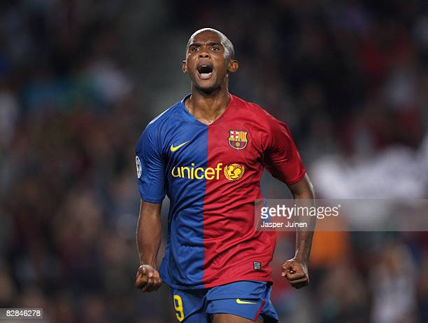 Samuel Eto'o of Barcelona celebrates scoring the second goal from the penalty spot during the UEFA Champions League Group C match between Barcelona...