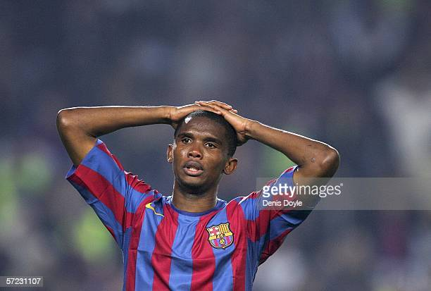 Samuel Eto'o of Barcelona react after missing a goalscoring opportunity during a Primera Liga match between Barcelona and Real Madrid at the Camp Nou...
