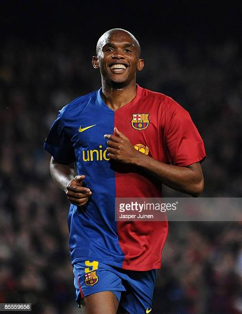 Samuel Eto'o of Barcelona smiles as he celebrates scoring his sides sixth goal during the La Liga match between Barcelona and Malaga at the Camp Nou...
