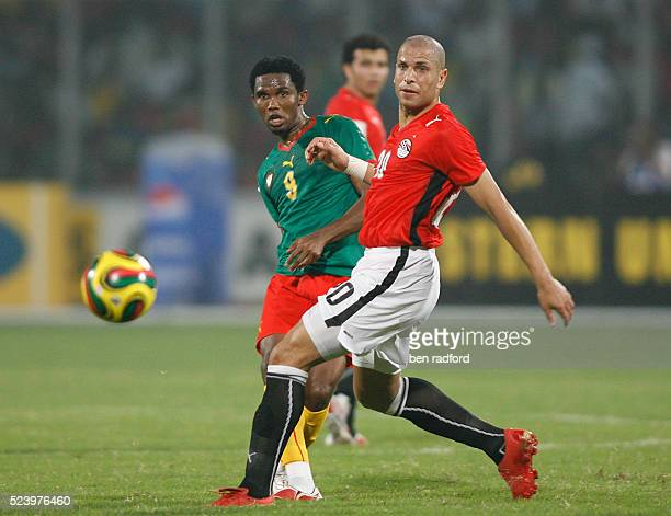 Samuel Eto'o of Cameroon and Gomaa Kamel Elhawrty of Egypt during the Group C African Cup of Nations 2008 match between Egypt and Cameroon at the...