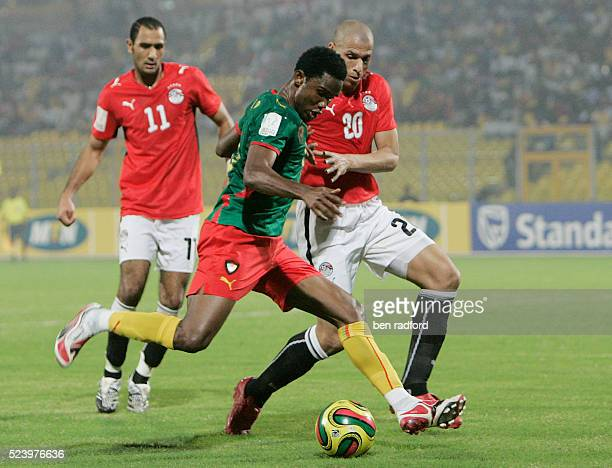 Samuel Eto'o of Cameroon and Shawky Aly Aly Salam and Gomaa Kamel Elhawty of Egypt during the Group C African Cup of Nations 2008 match between Egypt...