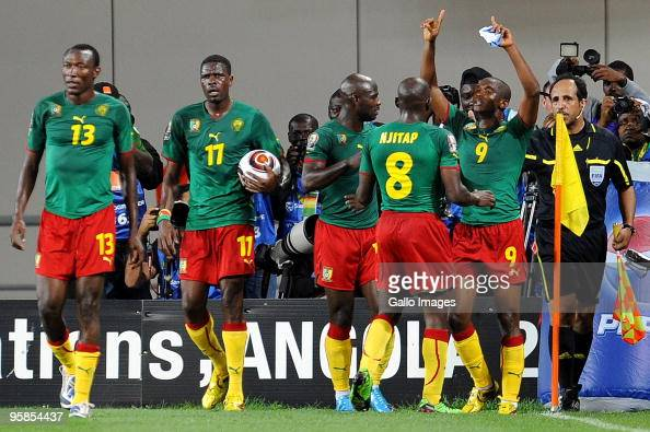 Samuel Eto'o of Cameroon celebrates with his team mates after scoring a goal during the African Nations Cup group D match between Cameroon and Zambia...