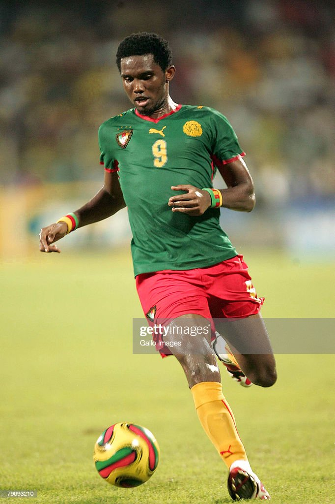 Samuel Eto'o of Cameroon during the AFCON match final between Cameroon and Egypt held at the Ohene Djan Stadium on February 10 2008 in Accra Ghana
