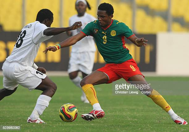Samuel Eto'o of Cameroon during the Group C 2008 African Cup of Nations match at the Baba Yara Stadium in Kumasi Ghana West Africa
