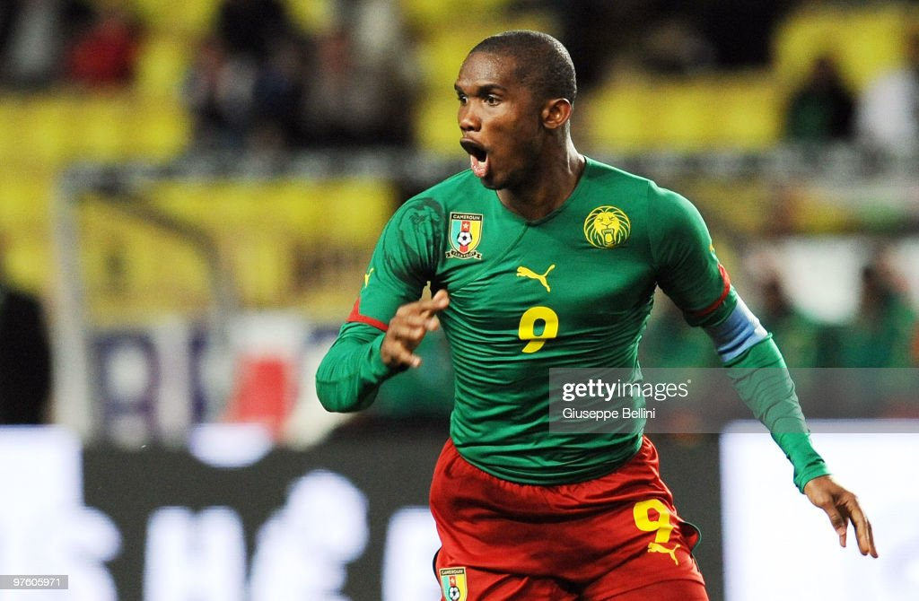 <a gi-track='captionPersonalityLinkClicked' href=/galleries/search?phrase=Samuel+Eto%27o&family=editorial&specificpeople=210530 ng-click='$event.stopPropagation()'>Samuel Eto'o</a> of Cameroon in action during the International Friendly match between Italy and Cameroon at Louis II Stadium on March 3, 2010 in Monaco, Monaco.
