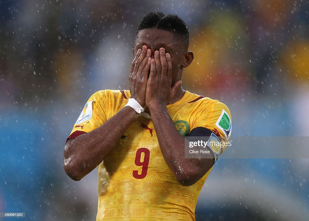 <a gi-track='captionPersonalityLinkClicked' href=/galleries/search?phrase=Samuel+Eto%27o&family=editorial&specificpeople=210530 ng-click='$event.stopPropagation()'>Samuel Eto'o</a> of Cameroon reacts after a missed chance during the 2014 FIFA World Cup Brazil Group A match between Mexico and Cameroon at Estadio das Dunas on June 13, 2014 in Natal, Brazil.