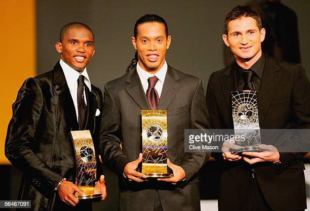 Samuel Eto'o of Cameroon Ronaldinho of Brazil and Frank Lampard of England show their awards at the FIFA World player of the year awards ceremony at...