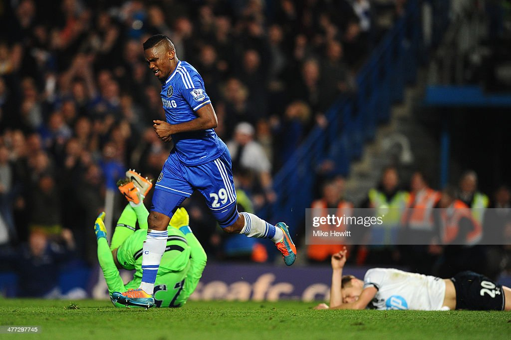 <a gi-track='captionPersonalityLinkClicked' href=/galleries/search?phrase=Samuel+Eto%27o&family=editorial&specificpeople=210530 ng-click='$event.stopPropagation()'>Samuel Eto'o</a> of Chelsea celebrates after scoring his team's first goal past goalkeeper <a gi-track='captionPersonalityLinkClicked' href=/galleries/search?phrase=Hugo+Lloris&family=editorial&specificpeople=2501893 ng-click='$event.stopPropagation()'>Hugo Lloris</a> of Spurs during the Barclays Premier League match between Chelsea and Tottenham Hotspur at Stamford Bridge on March 8, 2014 in London, England.