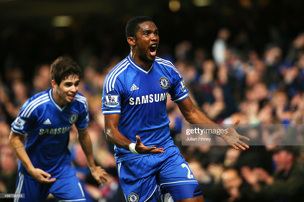 <a gi-track='captionPersonalityLinkClicked' href=/galleries/search?phrase=Samuel+Eto%27o&family=editorial&specificpeople=210530 ng-click='$event.stopPropagation()'>Samuel Eto'o</a> of Chelsea celebrates after scoring his team's second goal during the Barclays Premier League match between Chelsea and Liverpool at Stamford Bridge on December 29, 2013 in London, England.
