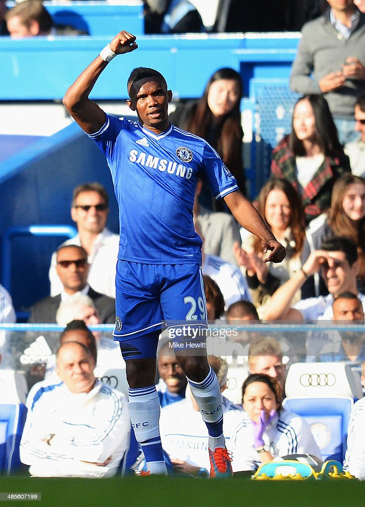 <a gi-track='captionPersonalityLinkClicked' href=/galleries/search?phrase=Samuel+Eto%27o&family=editorial&specificpeople=210530 ng-click='$event.stopPropagation()'>Samuel Eto'o</a> of Chelsea celebrates scoring during the Barclays Premier League match between Chelsea and Sunderland at Stamford Bridge on April 19, 2014 in London, England.