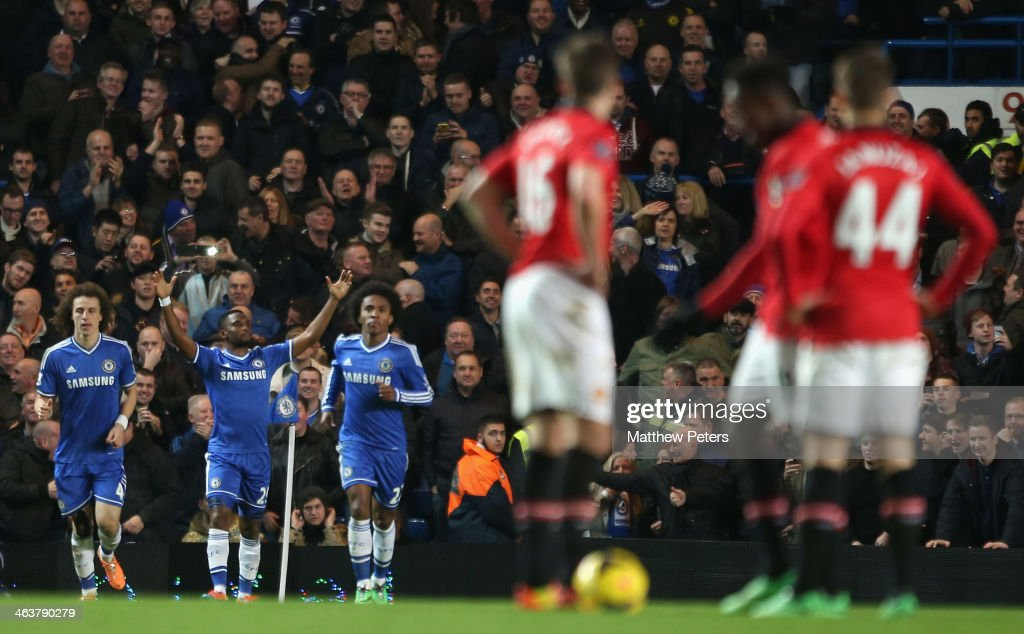<a gi-track='captionPersonalityLinkClicked' href=/galleries/search?phrase=Samuel+Eto%27o&family=editorial&specificpeople=210530 ng-click='$event.stopPropagation()'>Samuel Eto'o</a> of Chelsea celebrates scoring their third goal during the Barclays Premier League match between Chelsea and Manchester United at Stamford Bridge on January 19, 2014 in London, England.