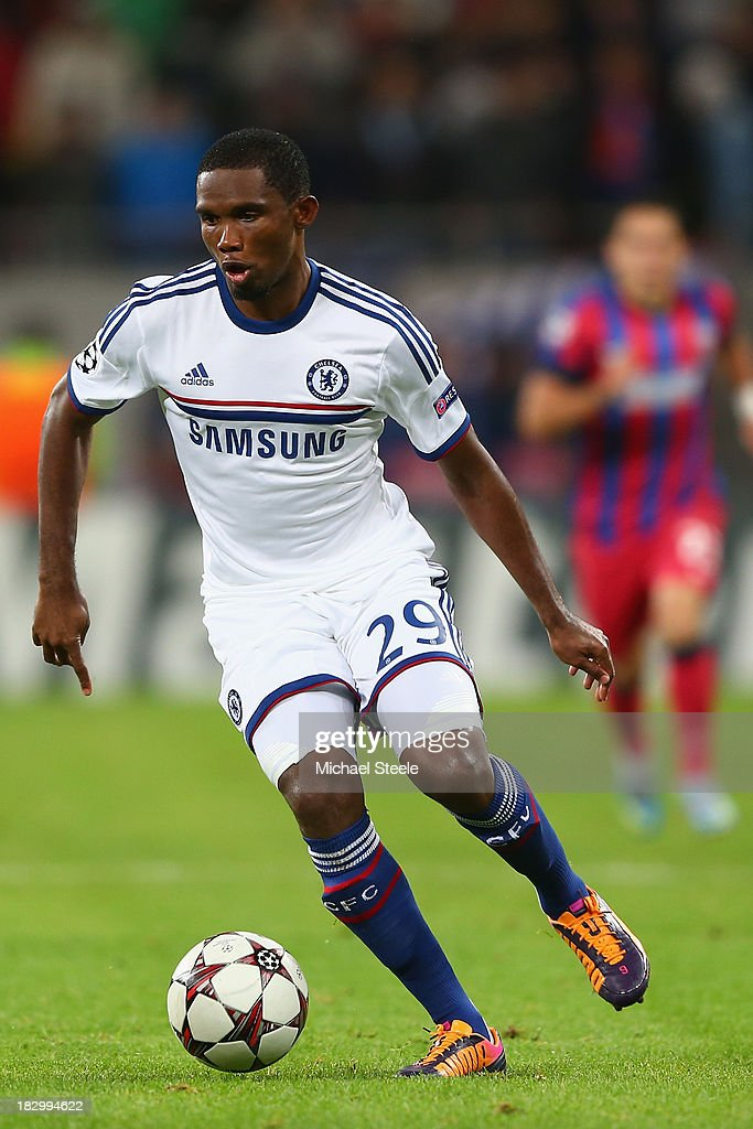 <a gi-track='captionPersonalityLinkClicked' href=/galleries/search?phrase=Samuel+Eto%27o&family=editorial&specificpeople=210530 ng-click='$event.stopPropagation()'>Samuel Eto'o</a> of Chelsea during the UEFA Champions League Group E Match between FC Steaua Bucuresti and Chelsea at the National Arena Stadium on October 1, 2013 in Bucharest, Romania.