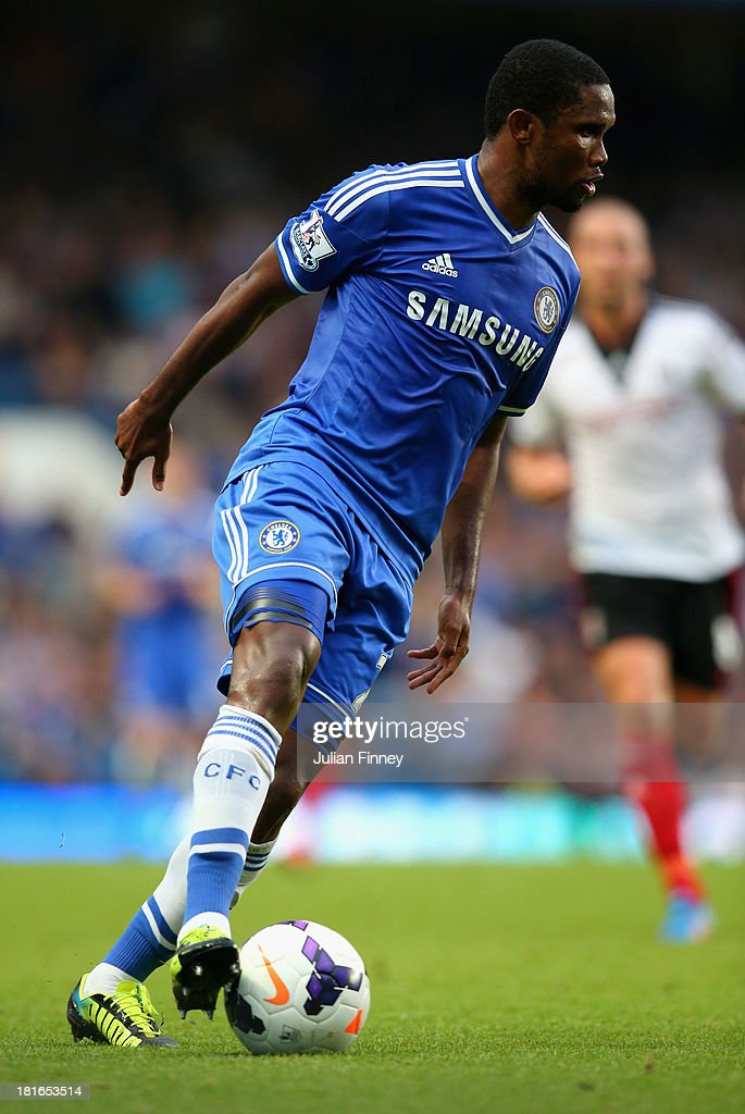 <a gi-track='captionPersonalityLinkClicked' href=/galleries/search?phrase=Samuel+Eto%27o&family=editorial&specificpeople=210530 ng-click='$event.stopPropagation()'>Samuel Eto'o</a> of Chelsea in action during the Barclays Premier League match between Chelsea and Fulham at Stamford Bridge on September 21, 2013 in London, England.