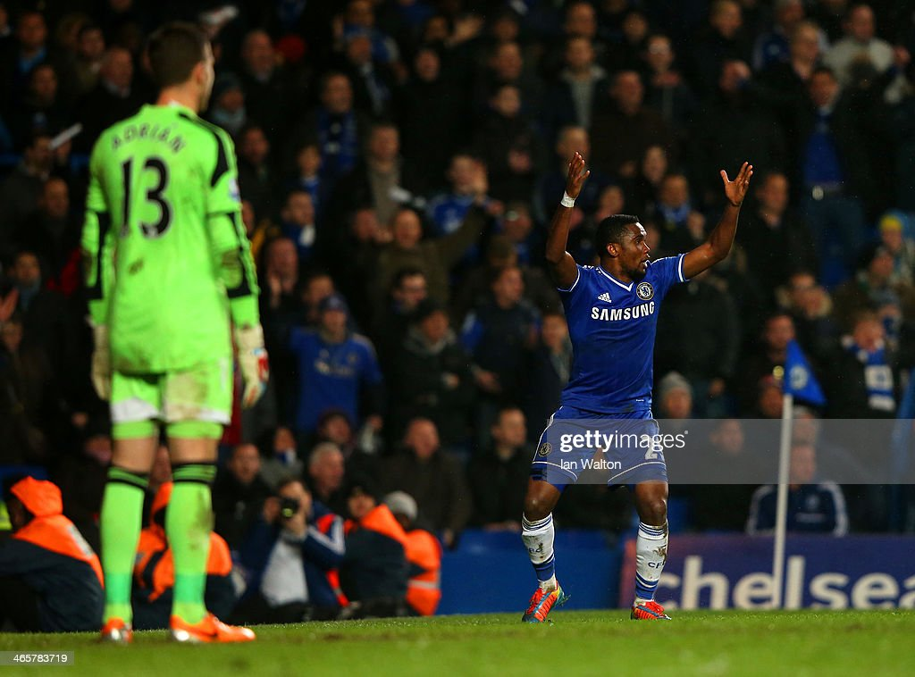 <a gi-track='captionPersonalityLinkClicked' href=/galleries/search?phrase=Samuel+Eto%27o&family=editorial&specificpeople=210530 ng-click='$event.stopPropagation()'>Samuel Eto'o</a> of Chelsea reacts after a goal was disallowed during the Barclays Premier League match between Chelsea and West Ham United at Stamford Bridge on January 29, 2014 in London, England.