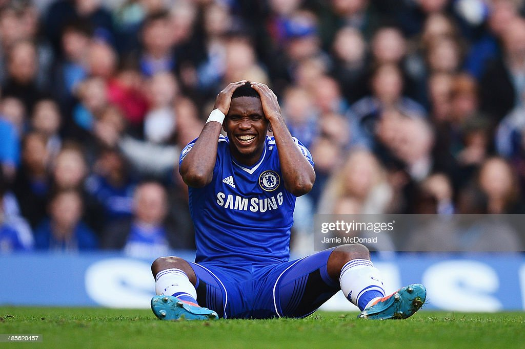 <a gi-track='captionPersonalityLinkClicked' href=/galleries/search?phrase=Samuel+Eto%27o&family=editorial&specificpeople=210530 ng-click='$event.stopPropagation()'>Samuel Eto'o</a> of Chelsea reacts to a missed chance during the Barclays Premier League match between Chelsea and Sunderland at Stamford Bridge on April 19, 2014 in London, England.