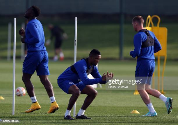 Samuel Eto'o of Everton warms up during a training session at Finch Farm on September 17 2014 in Liverpool England