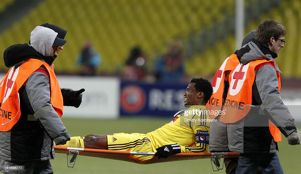 Samuel Eto'o of FC Anji Makhachkala is carried off the field on a stretcher during the UEFA Europa League Round of 32 first leg match between FC Anji Makhachkala and Hannover 96 at the Luzhniki Stadium on February 14, 2013 in Moscow, Russia.
