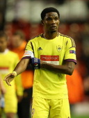 Samuel Eto'o of FC Anji Makhachkala looks on at the end of the UEFA Europa League Group A match between Liverpool FC and FC Anzhi Makhachkala at...