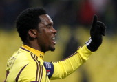 Samuel Eto'o of FC Anji Makhachkala reacts during the UEFA Europa League Round of 32 first leg match between FC Anji Makhachkala and Hannover 96 at...
