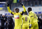 Samuel Eto'o of FC Anzhi Makhachkala celebrates after scoring a goal during the Russian Football League Championship match between FC Dynamo Moscow...