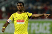 Samuel Eto'o of FC Anzhi Makhachkala gestures during an UEFA Europe League group A football match between his team and BSC Young Boys in Moscow on...