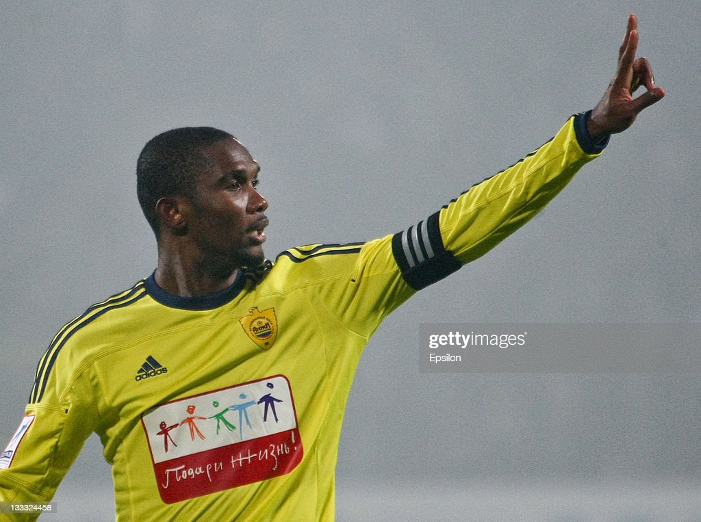 Samuel Eto'o of FC Anzhi Makhachkala gestures during the Russian Football League Championship match between FC Zenit St Petersburg and FC Anzhi...