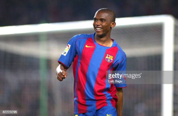 Samuel Eto'o of FC Barcelona in action during the La Liga soccer match between FC Barcelona and Real Mallorca on February 19 2005 at the Camp Nou...