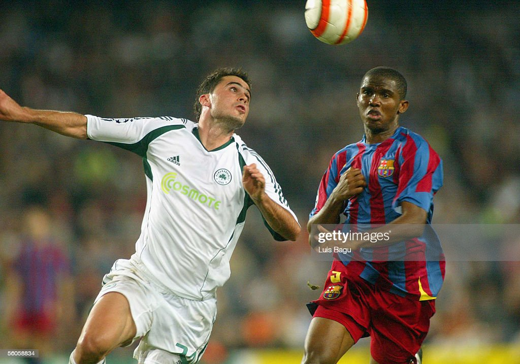 Samuel Eto'o (R) of FC Barcelona in action during the UEFA Champions League group C match between FC Barcelona and Panathinaikos at the Camp Nou stadium on November 2, 2005 in in Barcelona, Spain.