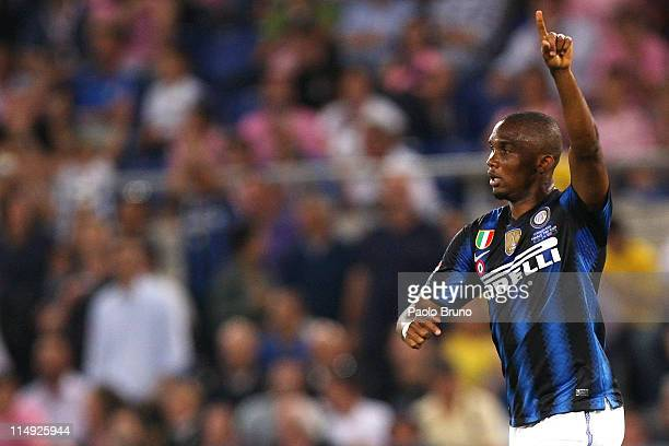 Samuel Eto'o of FC Internazionale Milano celebrates after scoring the opening goal during the Tim Cup final between FC Internazionale Milano and US...