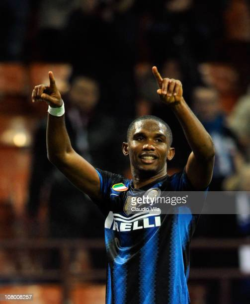 Samuel Eto'o of FC Internazionale Milano celebrates scoring the second goal during the Tim Cup match between Inter and Genoa at Stadio Giuseppe...