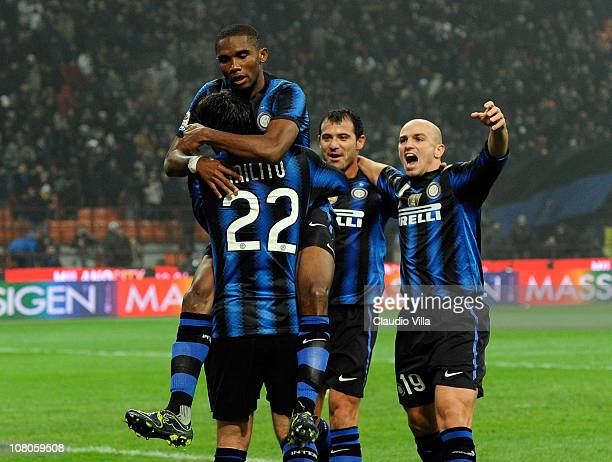 Samuel Eto'o of FC Internazionale Milano celebrates scoring the third goal during the Serie A match between Inter and Bologna at Stadio Giuseppe...