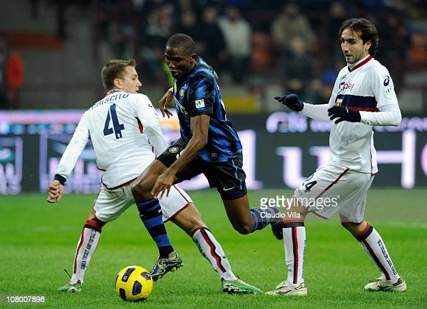 Samuel Eto'o of FC Internazionale Milano scores the first goal during the Tim Cup match between Inter and Genoa at Stadio Giuseppe Meazza on January...