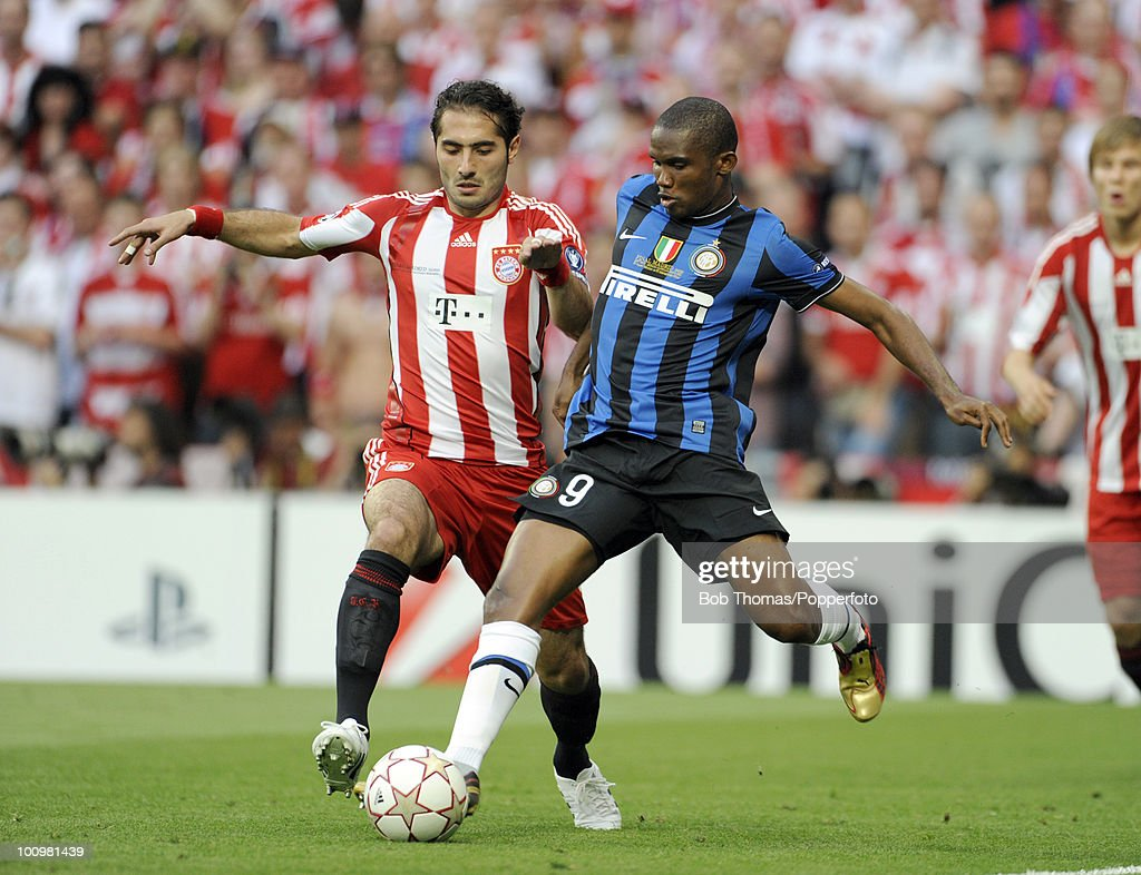 Samuel Eto'o of Inter Milan clashes with Hamit Altintop of Bayern Munich during the UEFA Champions League Final match between Bayern Munich and Inter Milan at the Estadio Santiago Bernabeu on May 22, 2010 in Madrid, Spain.