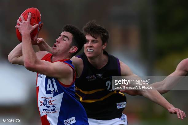 Samuel Flanders of the Power runs with the ball during the TAC Cup round 18 match between Gippsland and Murray at Victoria Park on September 3 2017...