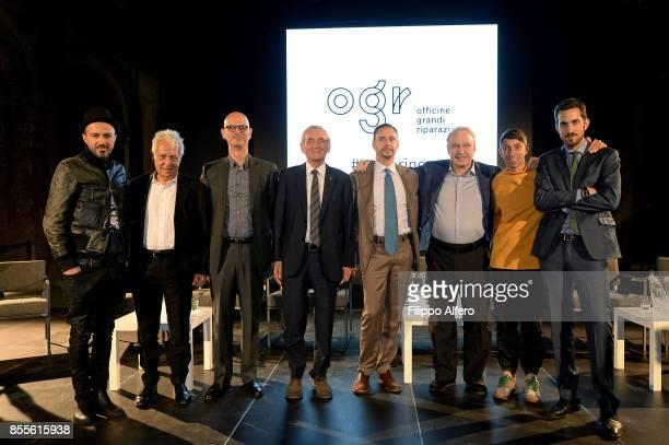 Samuel Fulvio Gianaria Arturo Herrera Giovanni Quaglia Massimo Lapucci Giorgio Moroder Patrick Tuttofuoco and Nicola Ricciardi during the OGR press...